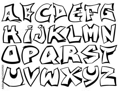 Door Murals English alphabet vector from A to Z in graffiti